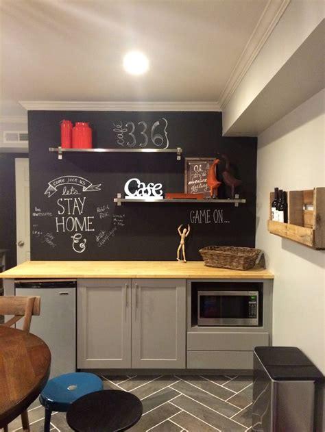 chalkboard wall kitchenette  basement kitchenette