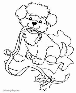 Christmas Coloring Pages - Puppy and Ribbon