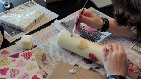 tuerchen kerzen mit serviettentechnik gestalten youtube