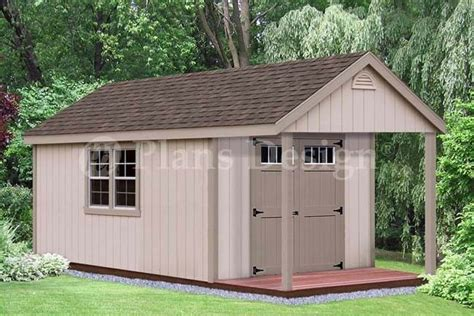 shed plans 10 x 16 16 x 10 cabin poolhouse shed with porch plans p61610