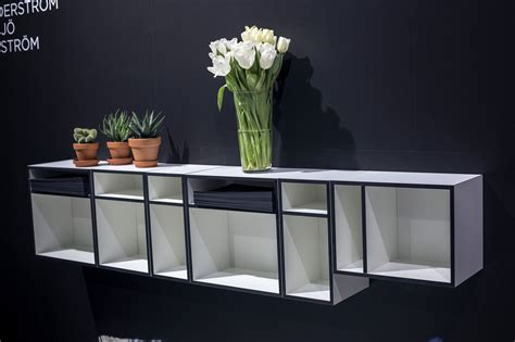 wall mounted open shelves offering space savvy modularity