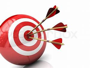 Abstract 3d illustration of three arrows in target | Stock ...