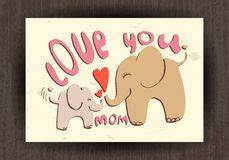 Happy Elephant Mother's Day Card Royalty Free Stock Photo ...