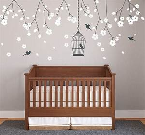 sticker mural chambre bebe plus de 50 idees pour s39inspirer With chambre bébé design avec fleurs artificielles france