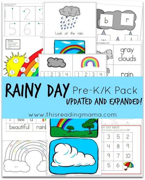 free rainy day pre k k pack updated and expanded math
