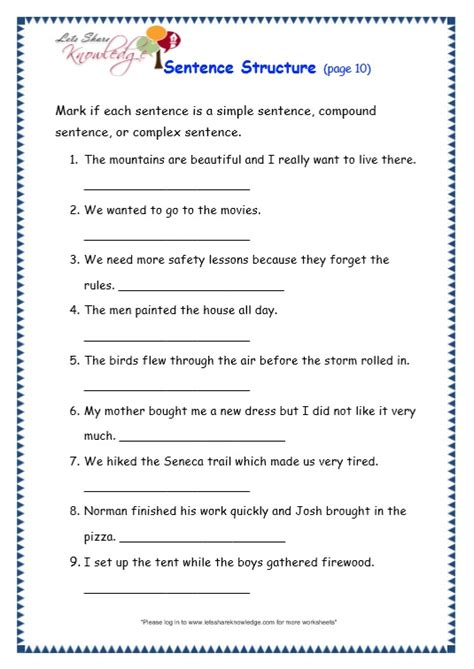 grade  grammar topic  sentence structure worksheets