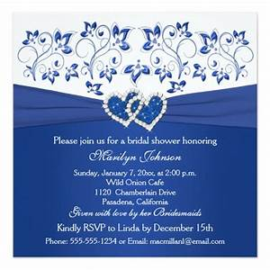 royal blue white floral hearts bridal shower invitation With royal blue wedding evening invitations