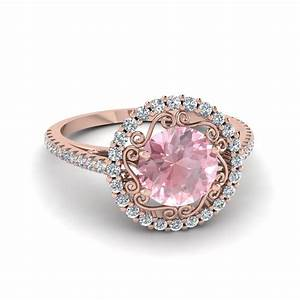 Round cut morganite halo diamond colored engagement ring for Colored diamond wedding ring