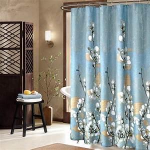 Rideau De Douche : rideau de salle de bain bleu fleurs de coton le march ~ Voncanada.com Idées de Décoration
