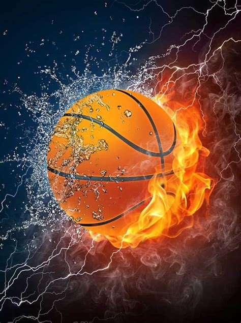 printed background fire basketball backdrop
