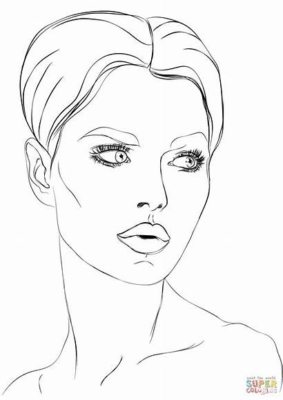 Coloring Face Pages Makeup Printable Drawing Faces