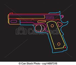 Vector Clip Art of Handgun neon sign Modern Pistol isolated vector icon csp Search Clipart Illustration Drawings and EPS