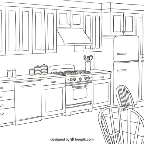 kitchen coloring pages sketchy kitchen vector free 3385