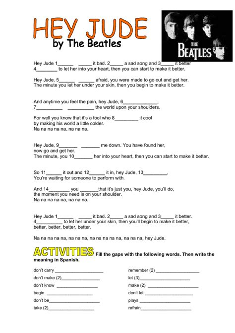 song worksheet hey jude by the beatles imperatives