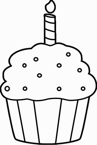 Coloring Birthday Cupcake Pages Printable Card Cards