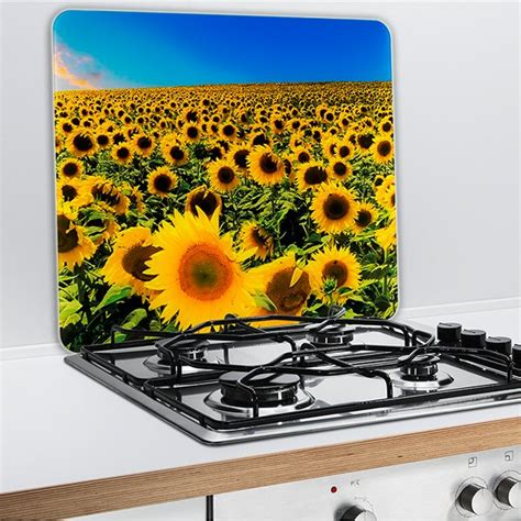 plaque protection cuisine murale protection murale en verre tournesol wenko protection
