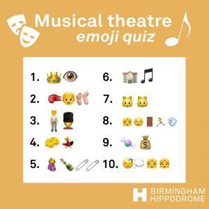 Home stories quizzes create profile. Test your theatre knowledge with our emoji quizzes ...