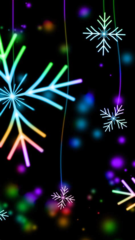 ultra hd neon snowflakes wallpaper   mobile phone
