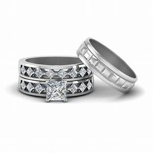 Princess cut trio diamond wedding ring sets for him and for Wedding ring sets for her