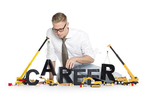 developing skills businessman building skill word stock