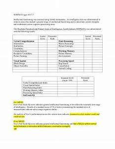 8 cognitive template kabc With wppsi iv report template