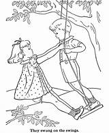 Coloring Swing Children Pages Sheets Drawing Swings Activity Embroidery Tandem Boy Printable Redwork Dick Standing Playing Swingset Tree Bluebonkers Sally sketch template