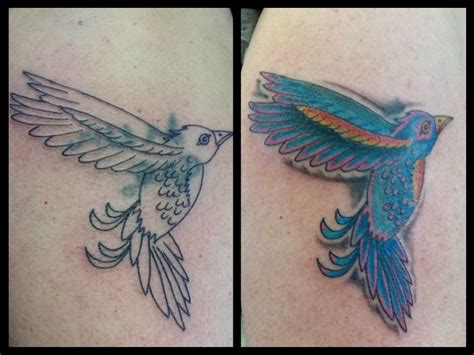 Hummingbird Cover Up Tattoo by Hummingbird Tattoo Cover Up Arm Girly Colourful Before And