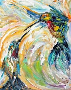 Bird Painting Original impasto abstract Hummingbirds OIL ...