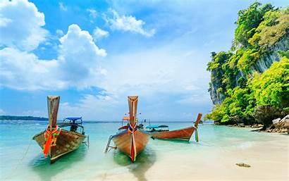 Phuket Thailand Beach Wallpapers Islands Boats Tropical