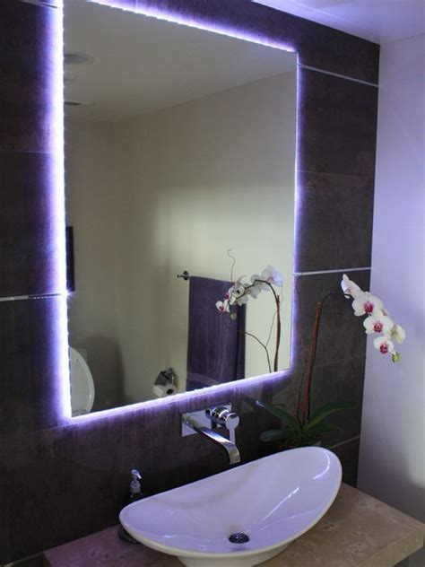 powder room mirror powder room contemporary with bathroom different ways in which you can use led lights in your home