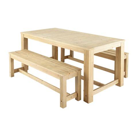 Table + 2 Bancs De Jardin En Bois L 180 Cm Brehat