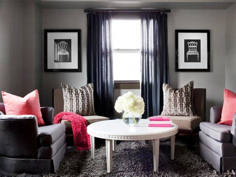 Elegant Gray Living Room With Black Curtain Gray Sofa Furniture And Red Pillow