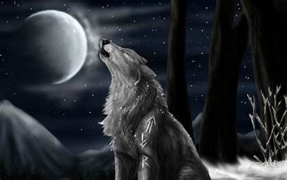 Wolf Howling Anime Moon Wolves Wallpapers Backgrounds