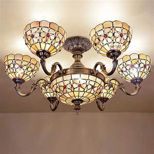 Natural, Shell, Ceiling, Light, Living, Room, Ceiling, Lamps, 8, Inch, 6, Heads, Pearl, Flower, Half, Hanging