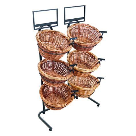 three tier floor l 38 quot h 3 tier 6 round willow basket and floor stand display rack