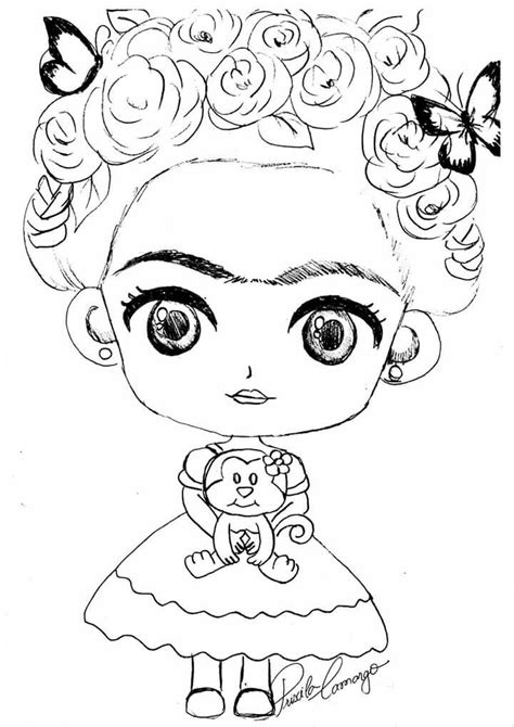 Pin de Yoen Hernandez en riscos e moldes Frida dibujo