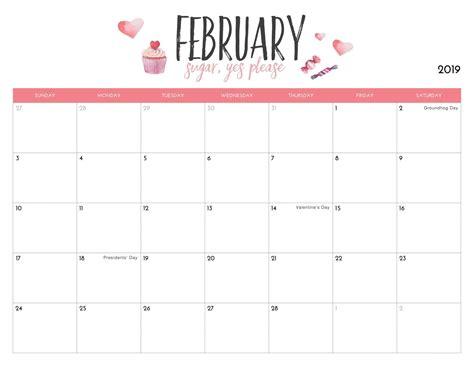 cute february  calendar calendar printables