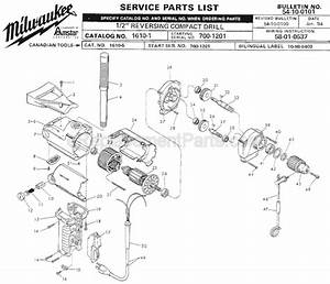 Milwaukee 1610-1 Parts List And Diagram
