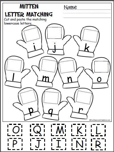 Mitten Matching Letters (ir) Madebyteachers