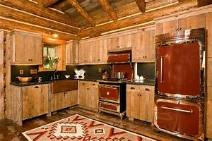 Log cabin kitchens with modern and rustic style for Kitchen colors with white cabinets with wagon wheel wall art