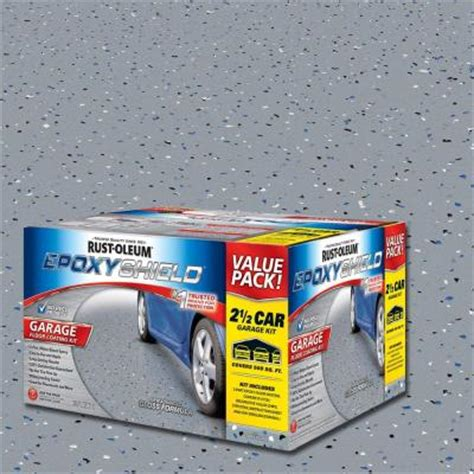 rust oleum epoxyshield 2 gal gray 2 part high gloss epoxy garage floor coating kit 251870 the