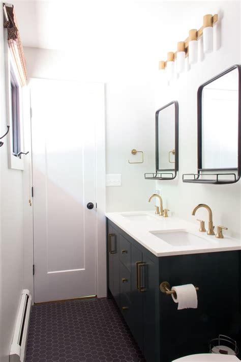 Brass Fixtures Bathroom by Remodeled Modern Bathrooms Bright Green Door