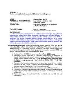 senior materials manager resume resume senior geotechnical material natm tunnel engineer