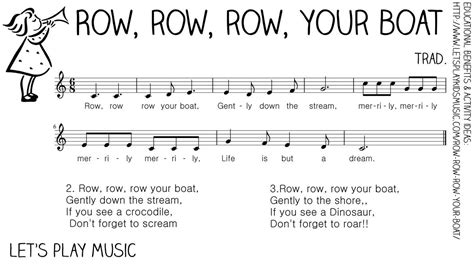 Row Your Boat Piano Sheet Music by Row Row Row Your Boat First Nursery Rhymes Nursery