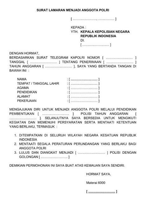 Contoh Surat Sakit Tulis Tangan by Contoh Surat Lamaran Kerja Menjadi Anggota Polri Polwan