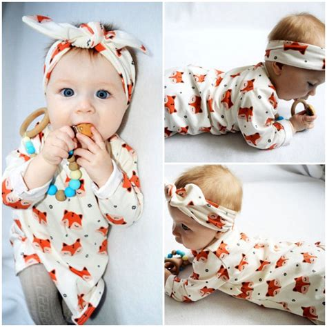 2017 Spring Newborn Baby Girl Clothes Long Sleeve Cotton Fox Dress Headband 2PCS Outfit Infant ...