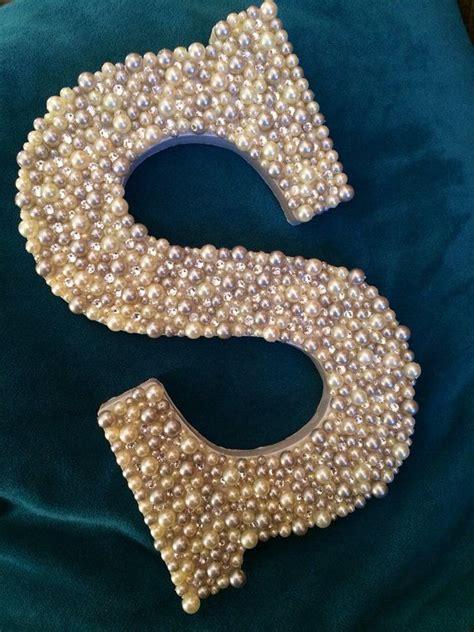 wooden letter   white  gray pearls  scarlettsplace  images monogram wall art
