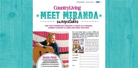 country living sweepstakes country living meet miranda lambert sweepstakes miranda countryliving