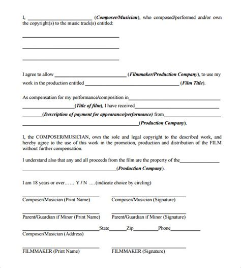 Music Copyright Release Form Template by 11 Music Release Forms To Download Sle Templates