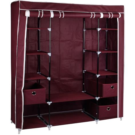 Large Fabric Canvas Wardrobe With Hanging Rail Shelving